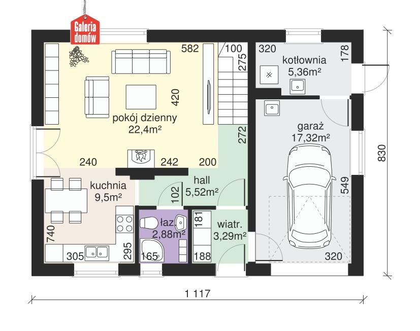 Dom przy Alabastrowej 31 - rzut parteru