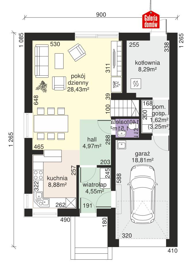 Dom przy Amarantowej 2 - rzut parteru