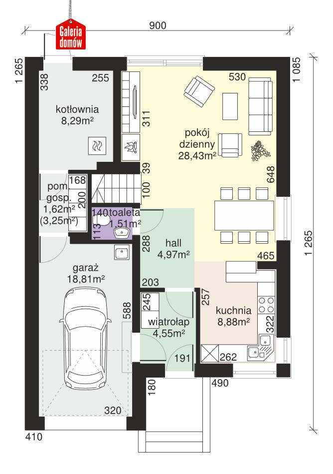 Dom przy Amarantowej 4 - rzut parteru