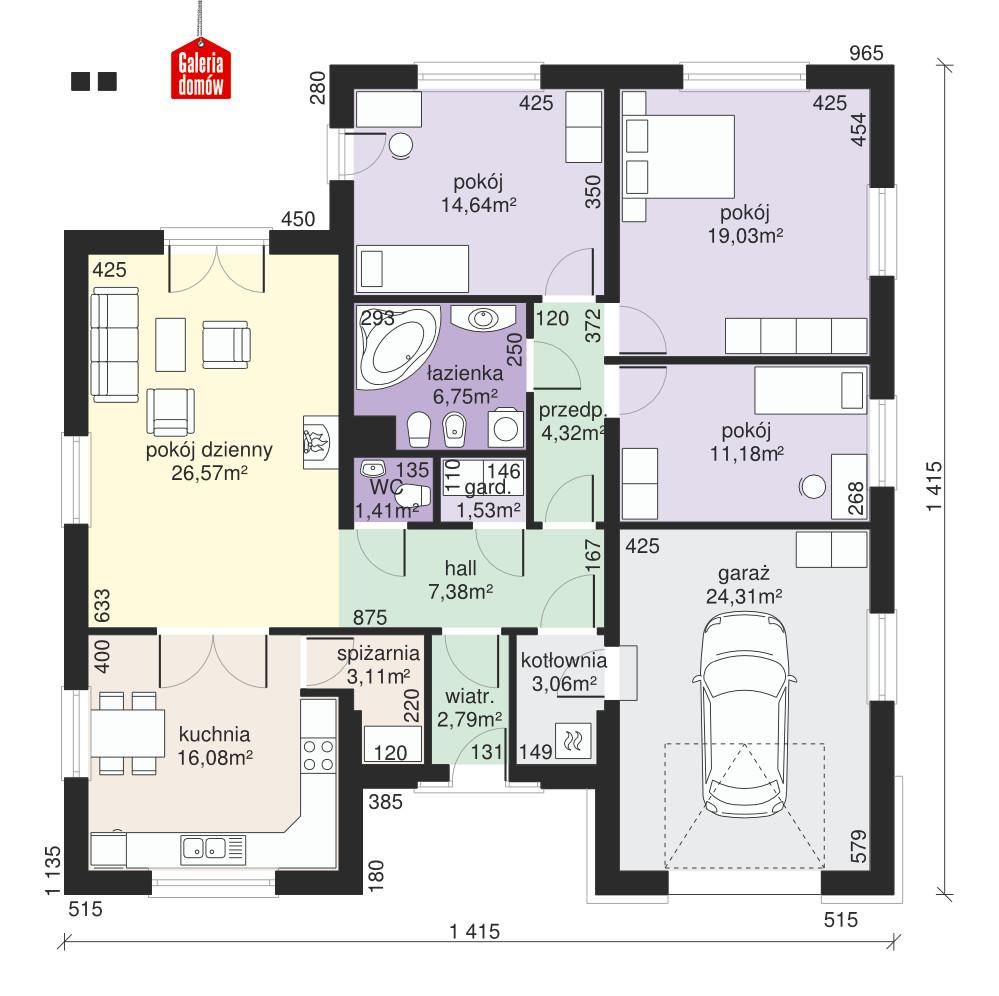 Dom przy Rubinowej 4 - rzut parteru