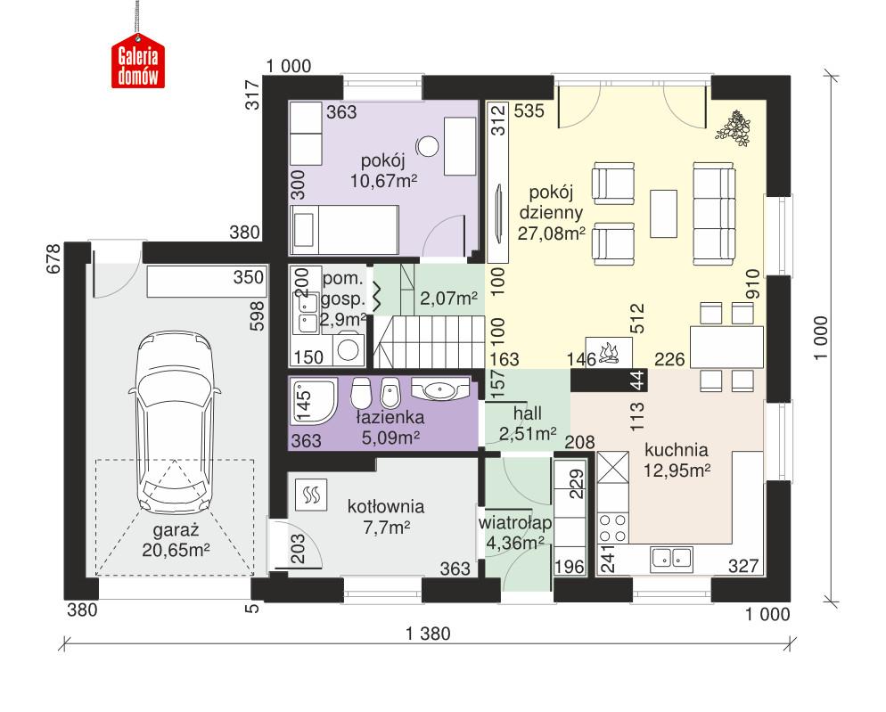 Dom przy Oliwkowej 3 - rzut parteru