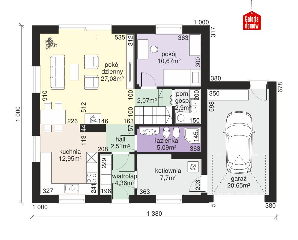 Dom przy Oliwkowej 3 N - rzut parteru