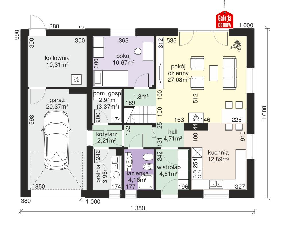 Dom przy Oliwkowej 5 H - rzut parteru