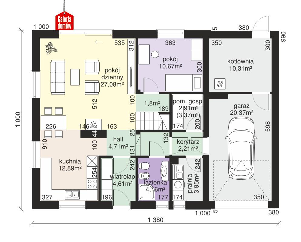Dom przy Oliwkowej 5 NH - rzut parteru