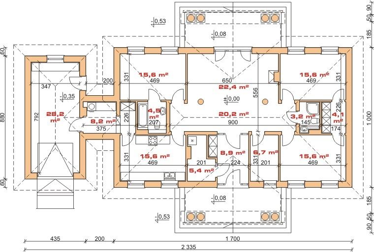 Dom przy Dębowej - rzut parteru