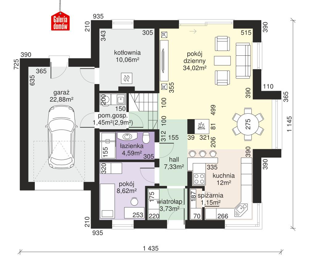 Dom przy Sielskiej 7 N - rzut parteru