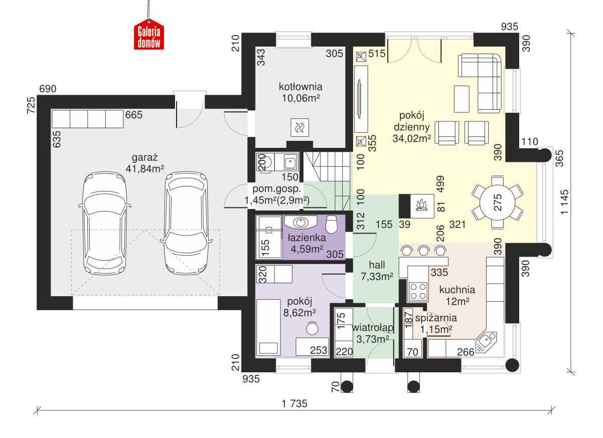 Dom przy Sielskiej 8 - rzut parteru