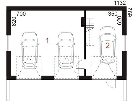 Garaż UPB-G03 - rzut parteru