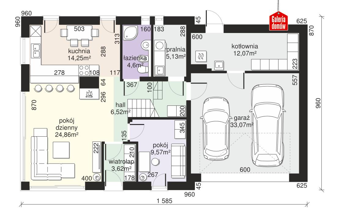 Dom przy Cyprysowej 15 S3 - rzut parteru