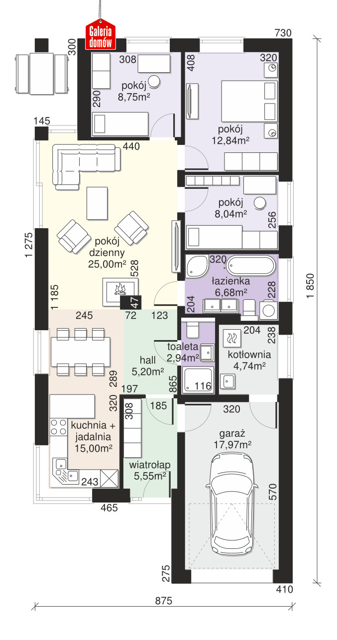 Dom przy Pastelowej 15 D bis - rzut parteru