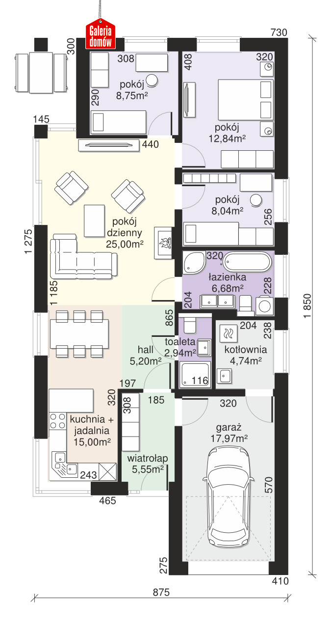 Dom przy Pastelowej 16 D bis - rzut parteru