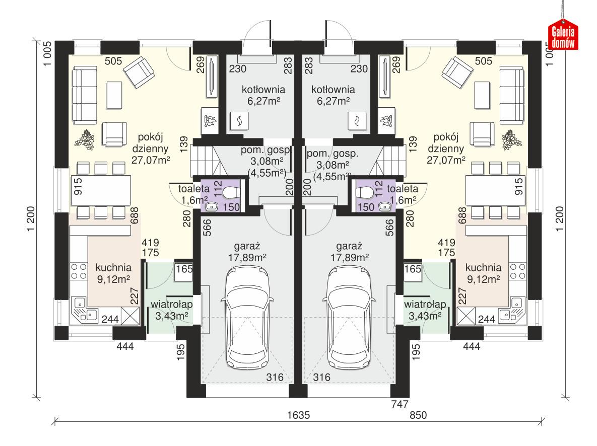 Dom przy Amarantowej 11 dwulokalowy - rzut parteru