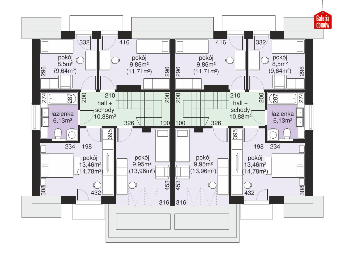 Dom przy Amarantowej 11 dwulokalowy - rzut poddasza