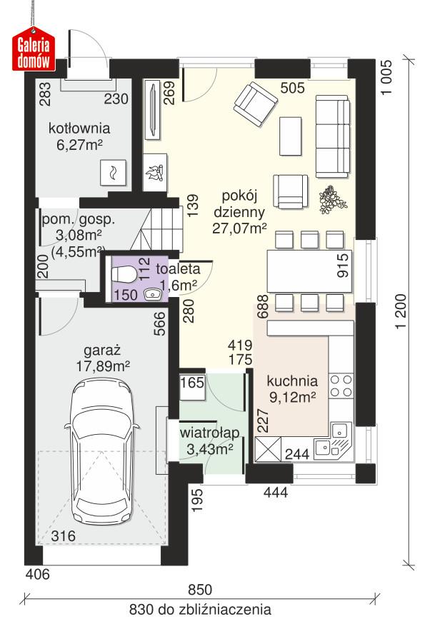 Dom przy Amarantowej 11 - rzut parteru