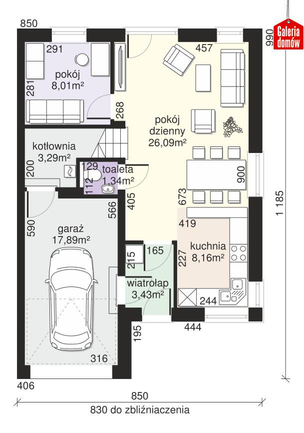 Dom przy Amarantowej 10 - rzut parteru