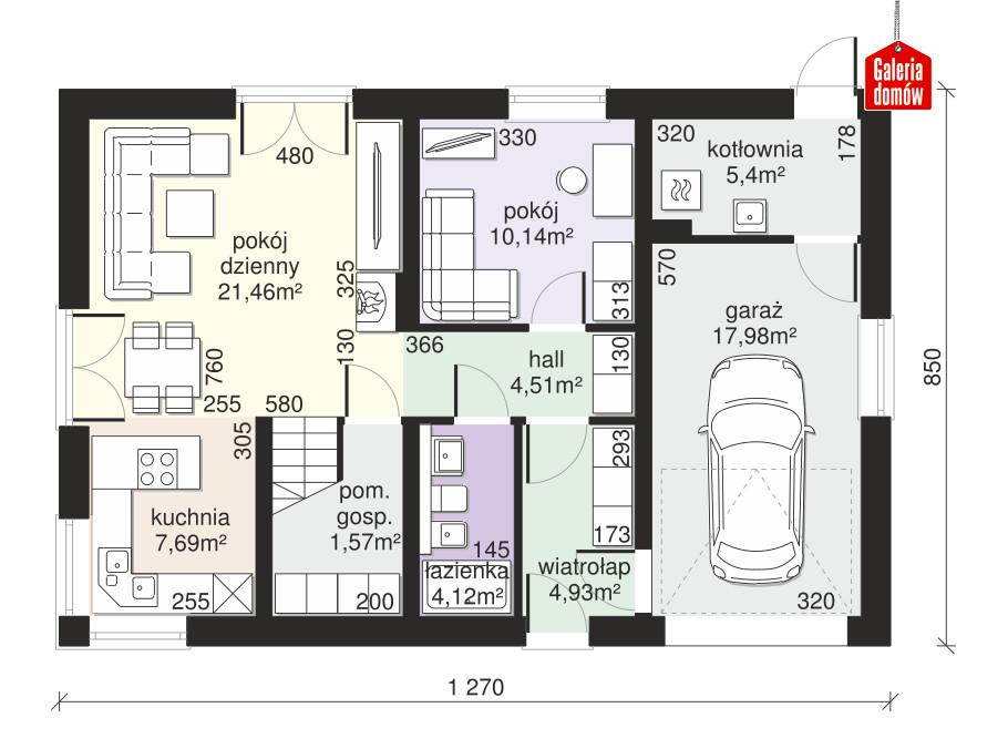 Dom przy Alabastrowej 42 - rzut parteru