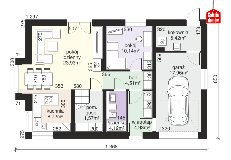 Dom przy Alabastrowej 51 - rzut parteru
