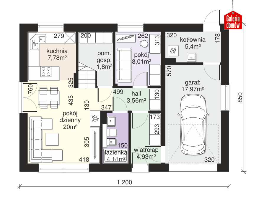 Dom przy Alabastrowej 43 - rzut parteru