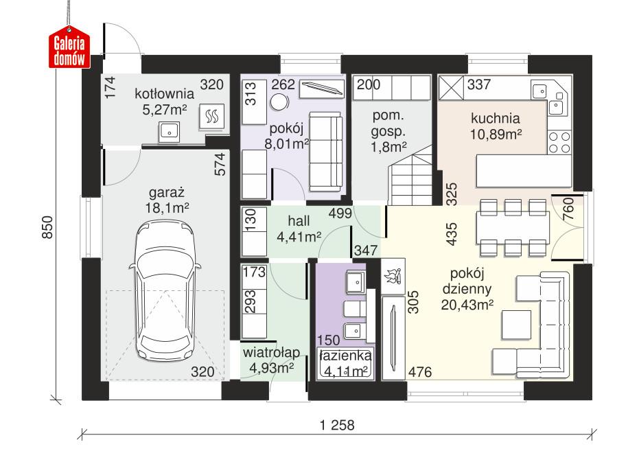 Dom przy Alabastrowej 44 - rzut parteru