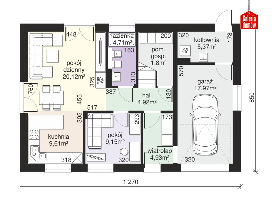 Dom przy Alabastrowej 45 - rzut parteru