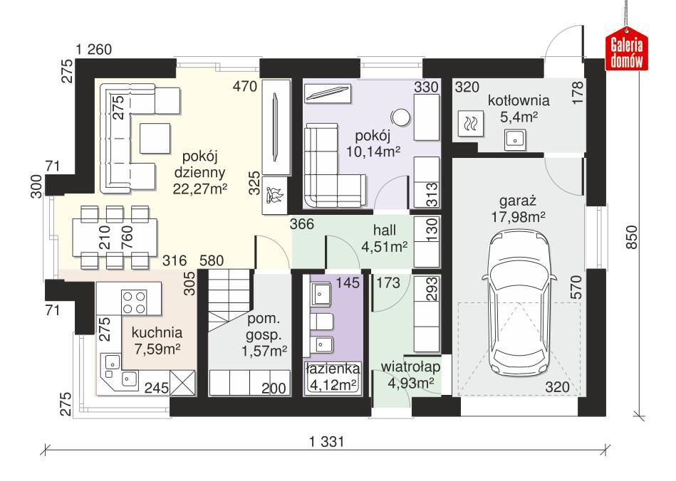 Dom przy Alabastrowej 46 - rzut parteru
