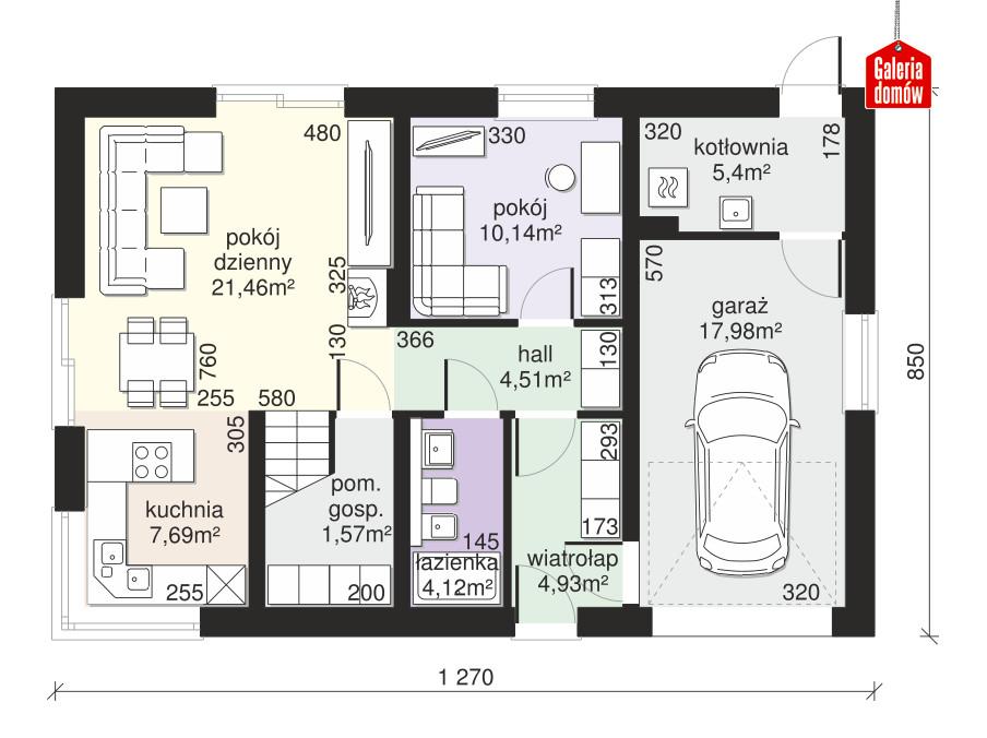 Dom przy Alabastrowej 47 - rzut parteru