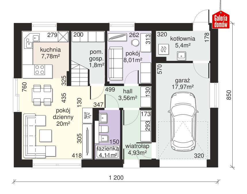 Dom przy Alabastrowej 48 - rzut parteru