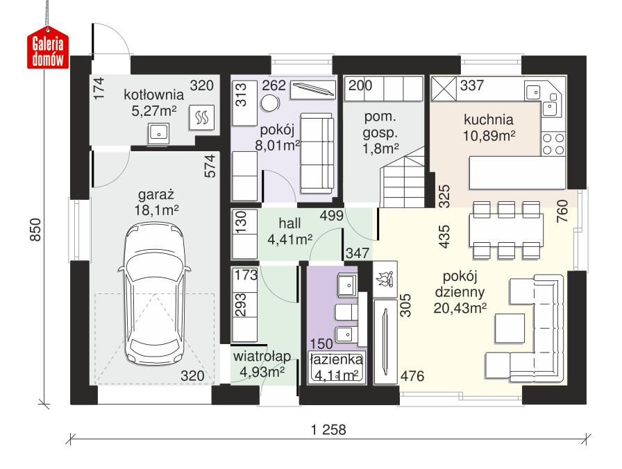 Dom przy Alabastrowej 49 - rzut parteru