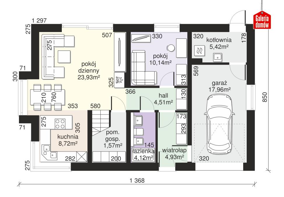 Dom przy Alabastrowej 52 - rzut parteru