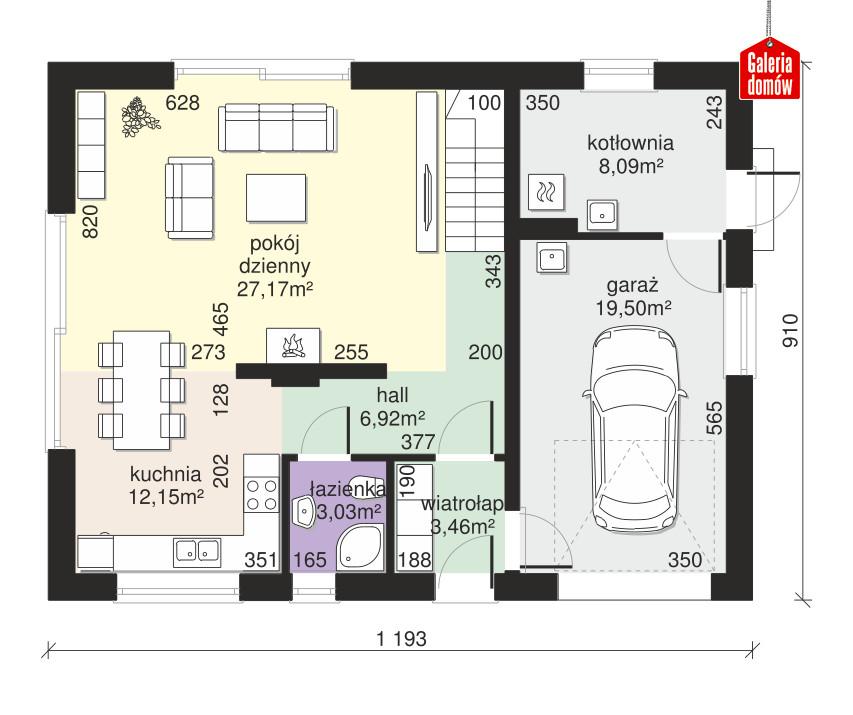 Dom przy Alabastrowej 53 - rzut parteru