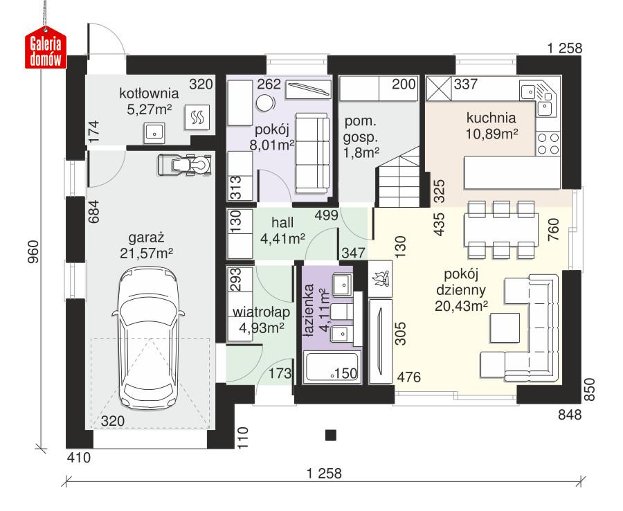 Dom przy Alabastrowej 55 - rzut parteru