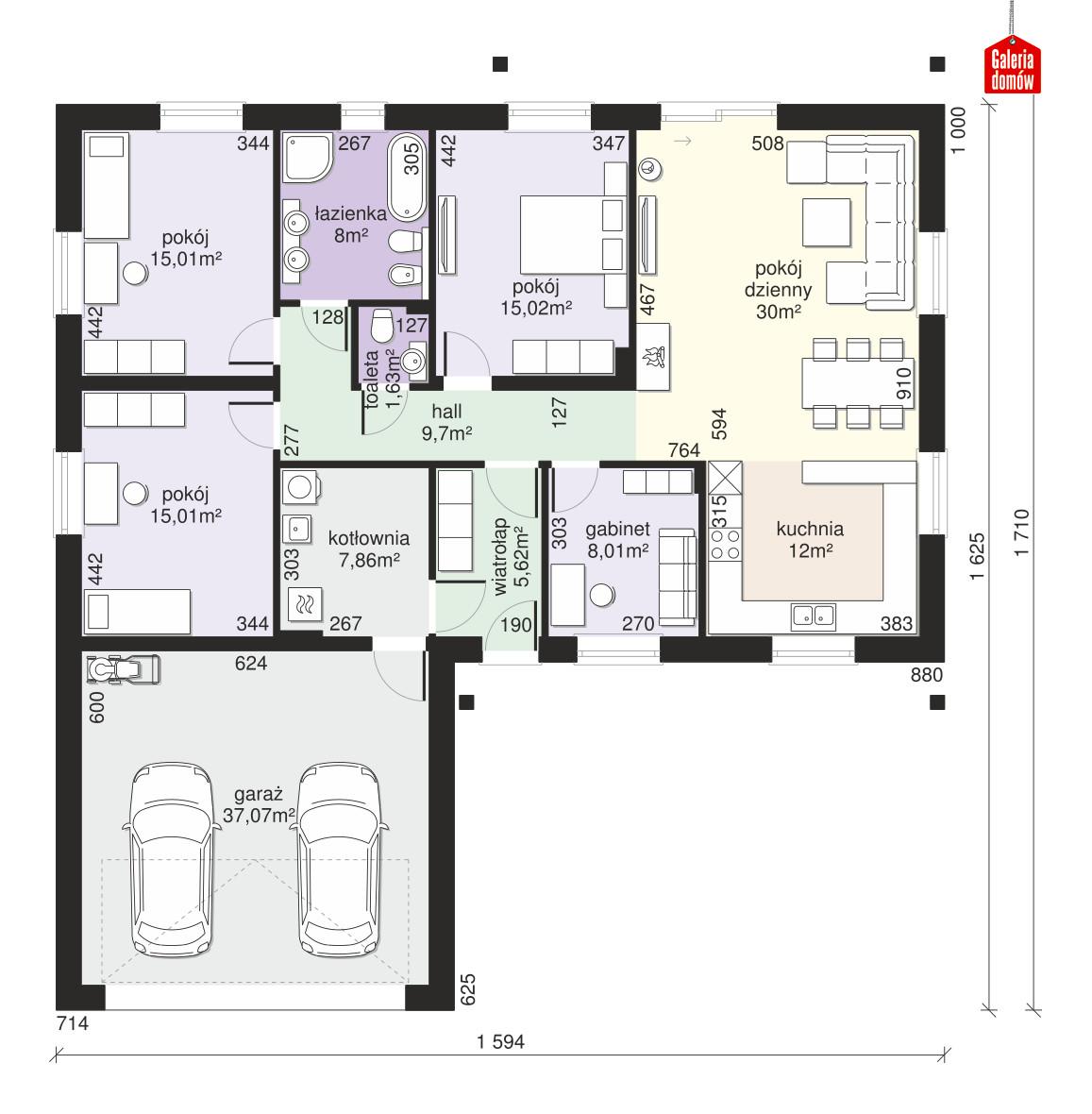 Dom przy Bukowej 31 - rzut parteru