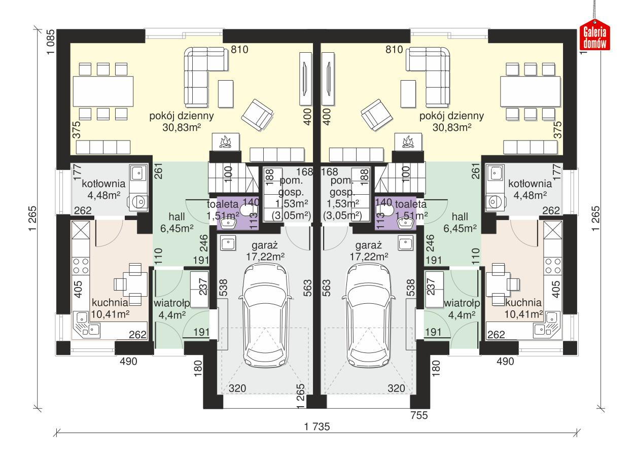 Dom przy Amarantowej 12 dwulokalowy - rzut parteru