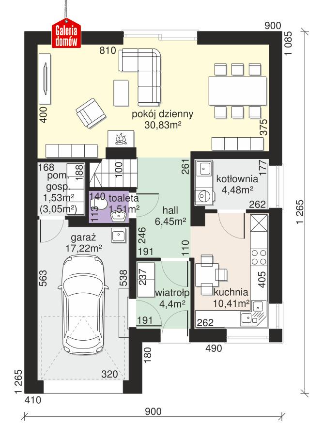 Dom przy Amarantowej 12 - rzut parteru