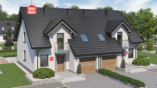 Projekt domu - Dom przy Amarantowej 14 dwulokalowy