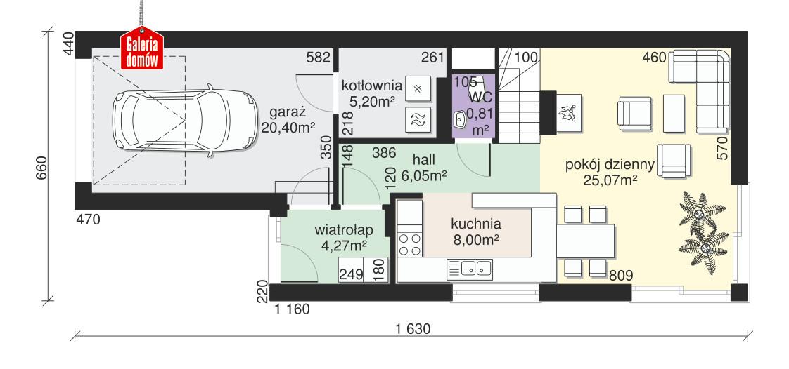 Dom przy Migdałowej 4 - rzut parteru