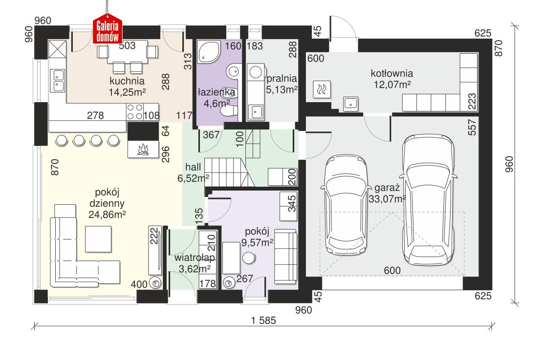 Dom przy Cyprysowej 58 - rzut parteru