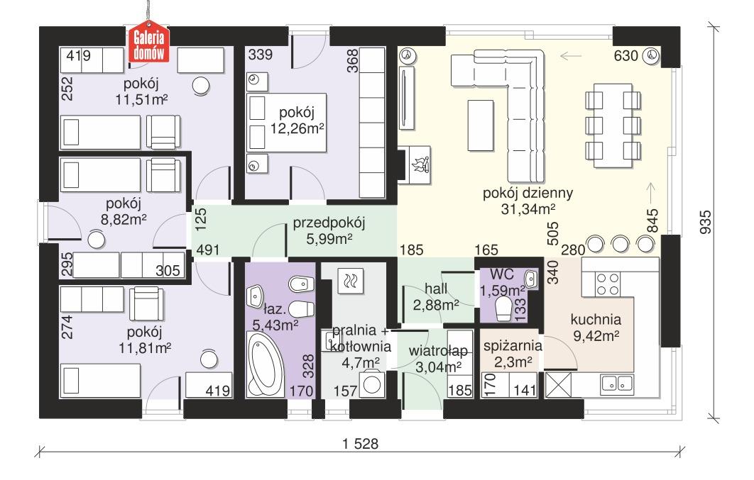 Dom przy Bukowej 46 - rzut parteru
