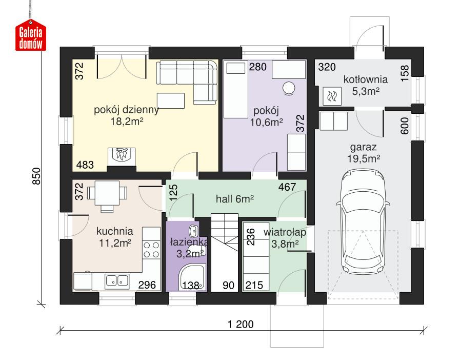 Dom przy Głogowej - rzut parteru