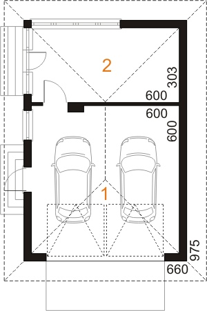 Garaż UPB-G05 - rzut parteru
