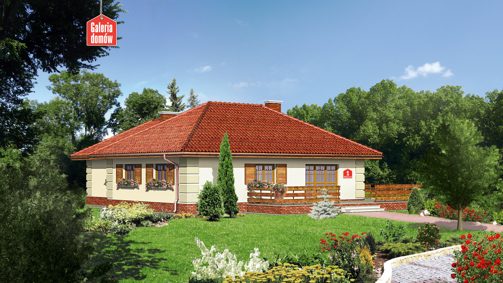 Dom przy Bajecznej - widok od strony ogrodu