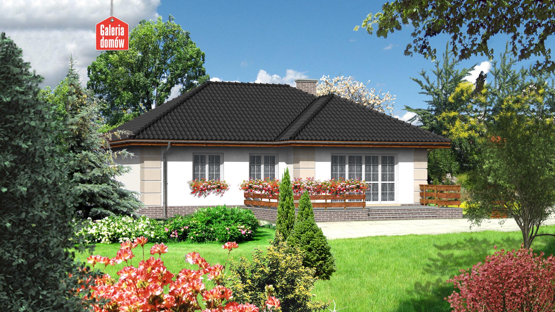 Dom przy Łabędziej - widok od ogrodu