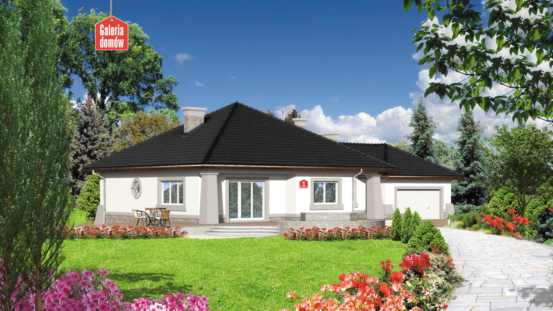 Dom przy Makowej - widok od strony ogrodu