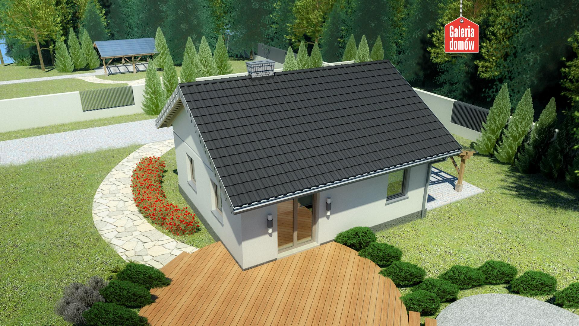 Dom przy Topolowej 2 - widok od ogrodu