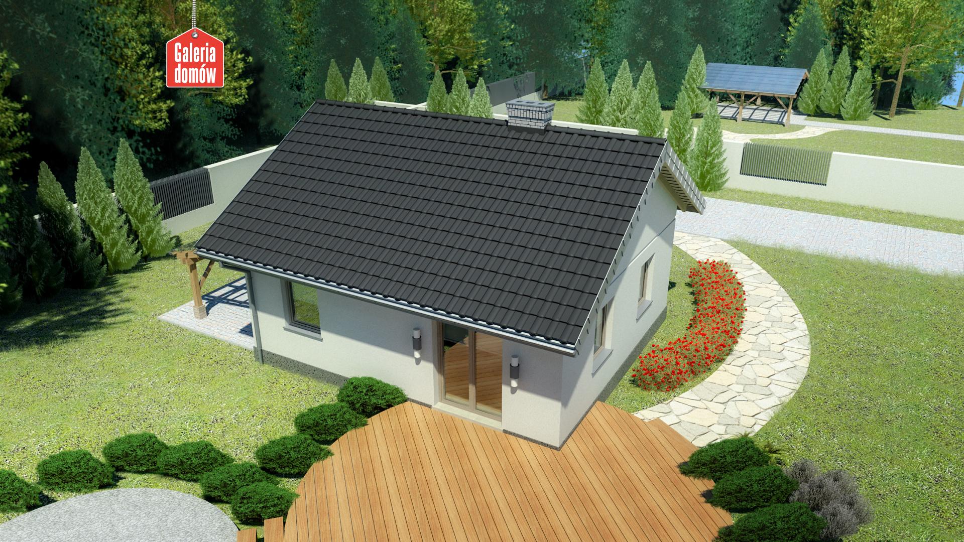 Dom przy Topolowej 2 - widok od strony ogrodu