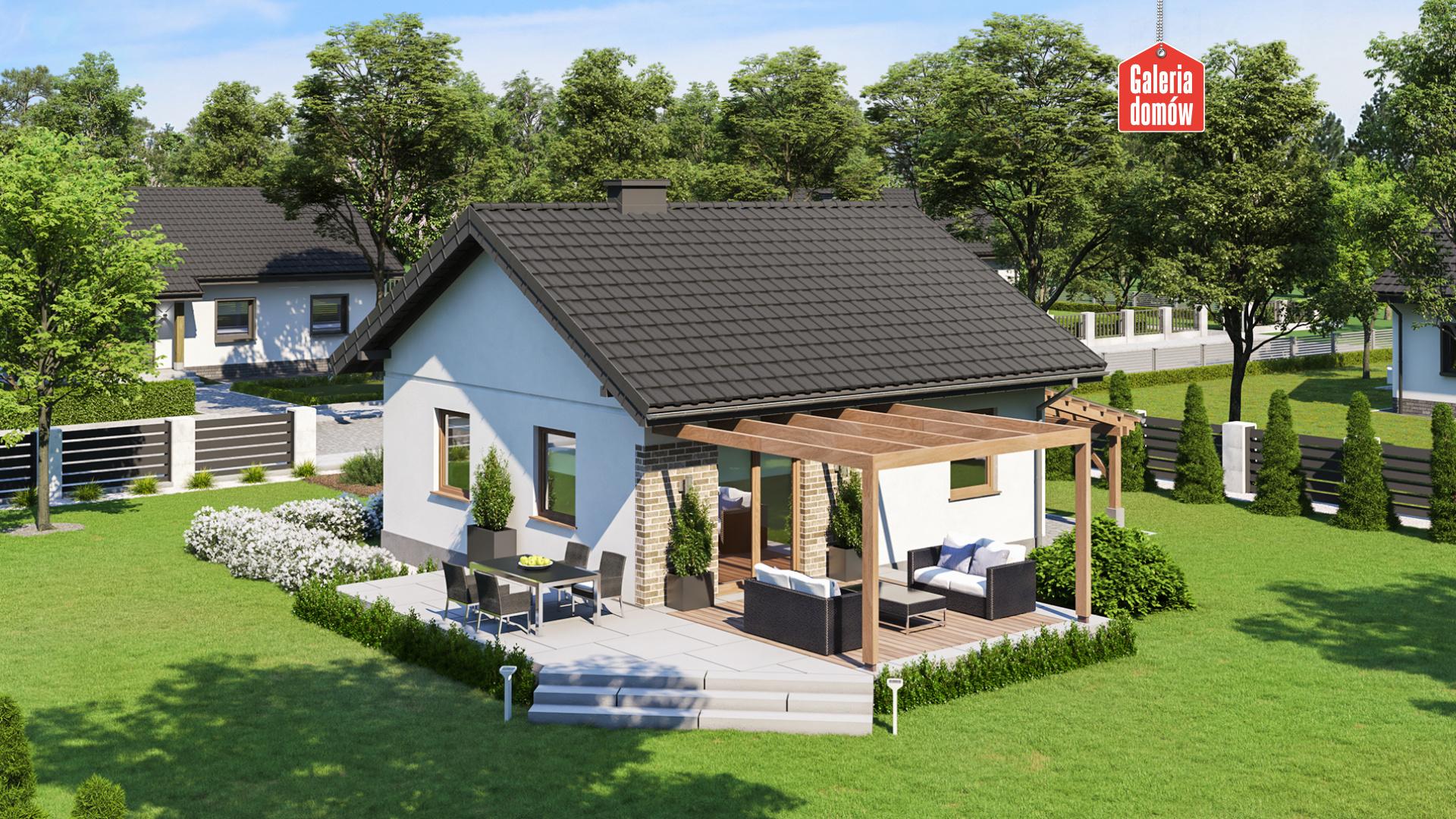 Dom przy Topolowej 4 - widok od ogrodu