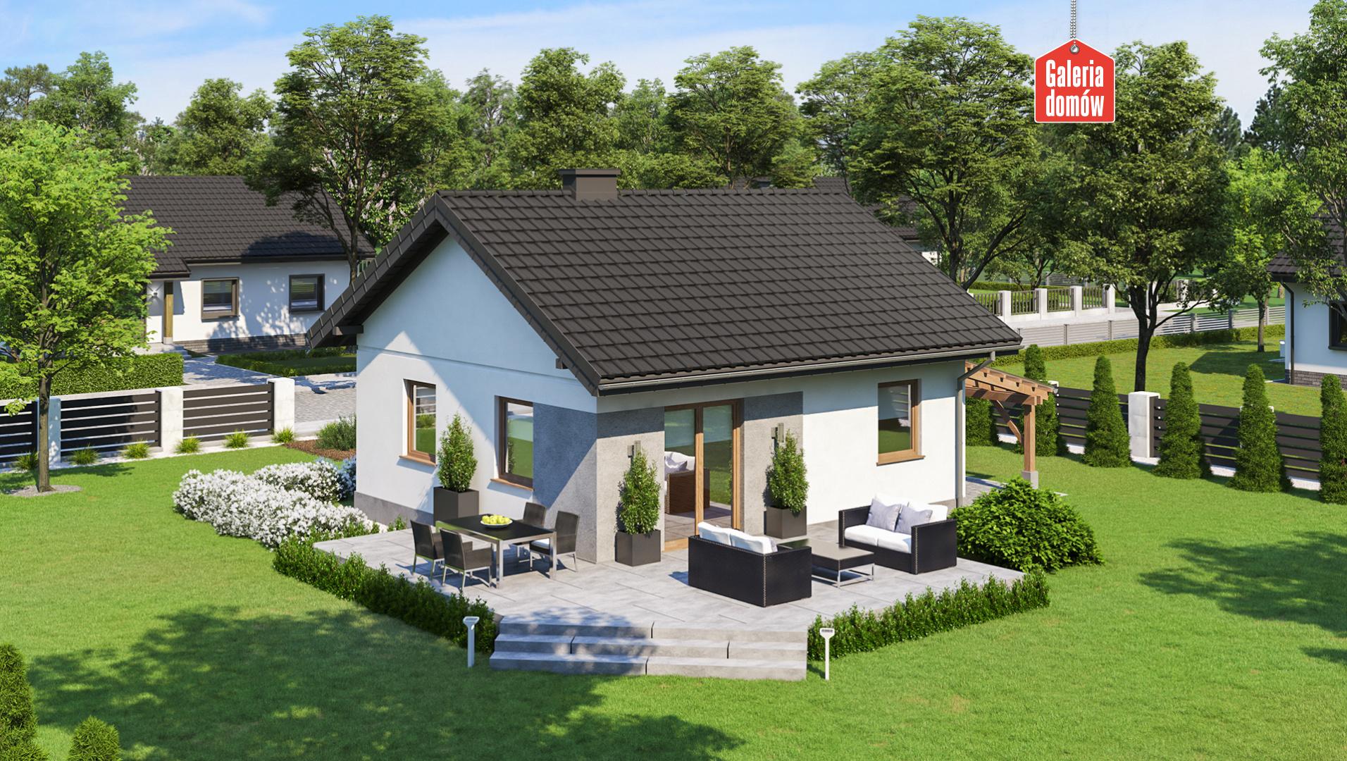 Dom przy Topolowej 5 - widok od ogrodu