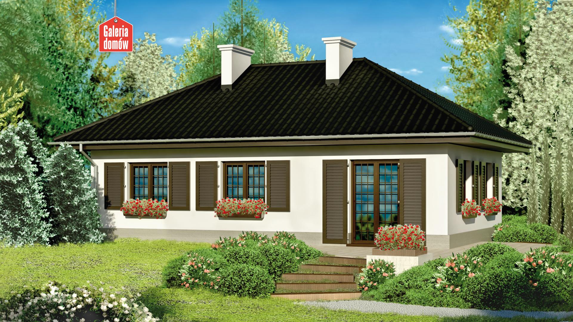 Dom przy Topolowej - widok od ogrodu