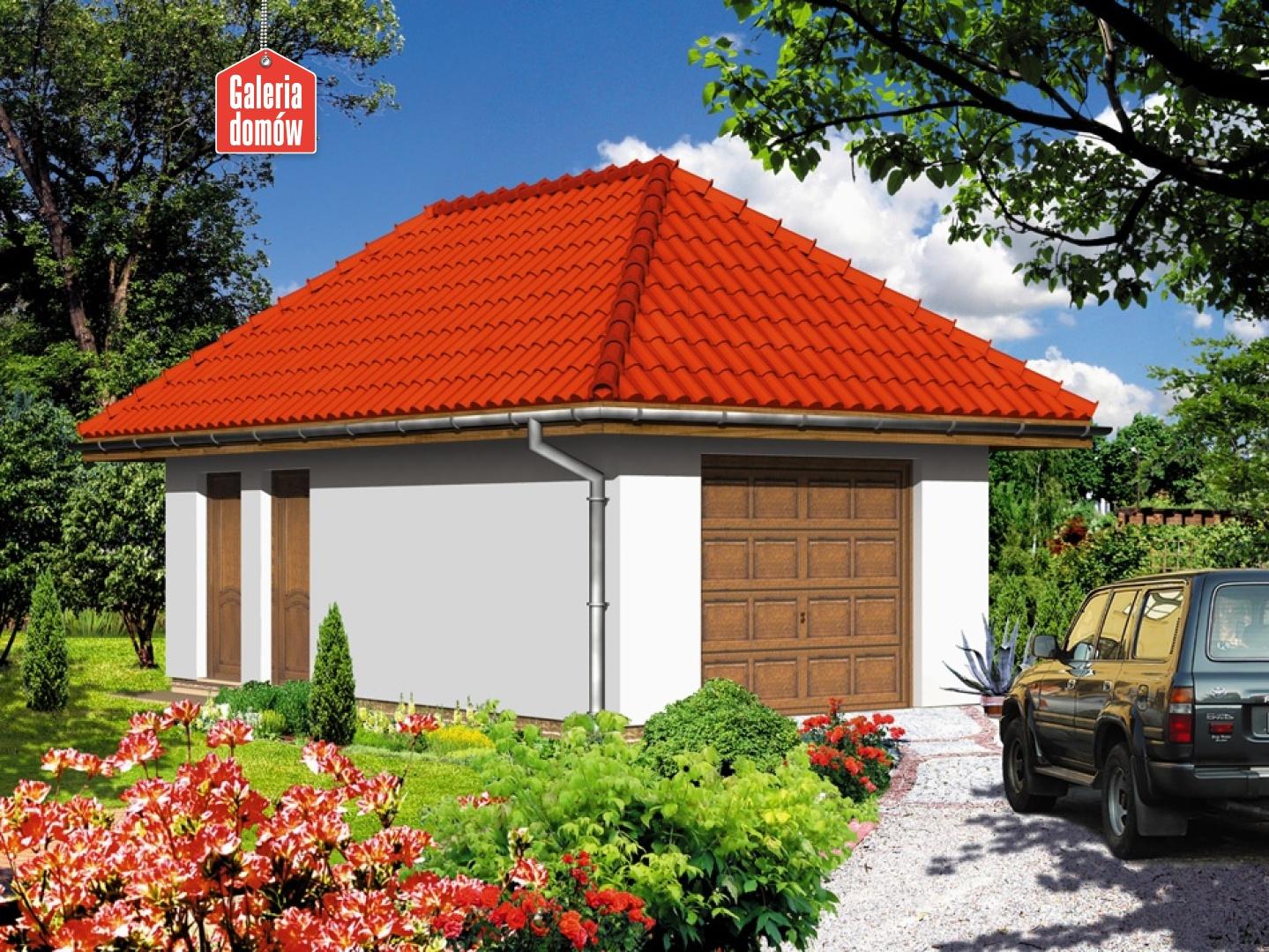 Garaż UPB-G01 - widok od ogrodu